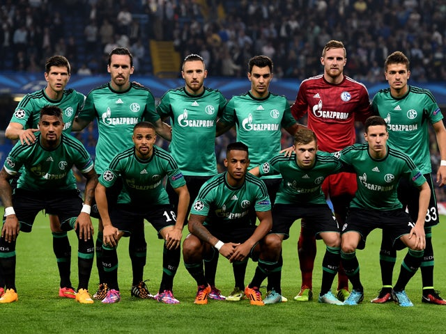 The Schalke team pose for the cameras prior to kickoff the UEFA Champions League Group G match between Chelsea and FC Schalke 04 on September 17, 2014