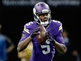 Teddy Bridgewater #5 of the Minnesota Vikings looks to pass against the New Orleans Saints on September 21, 2014