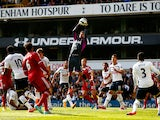 Goalkeeper Hugo Lloris of Spurs claims a cross during the Barclays Premier League match between Tottenham Hotspur and West Bromwich Albion at White Hart Lane on September 21, 2014