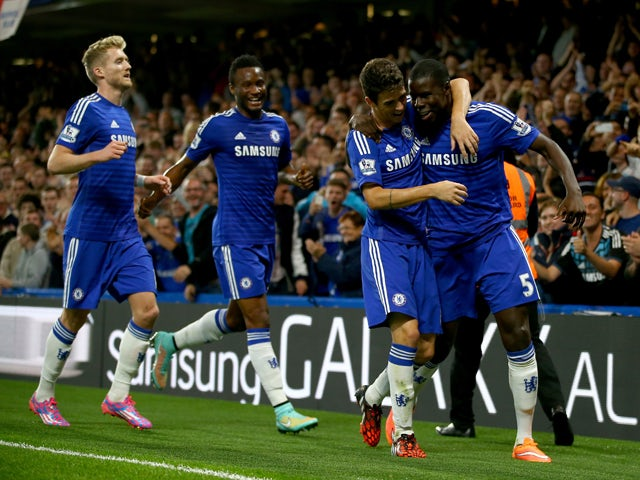 Kurt Zouma of Chelsea celebrates scoring the first goal during the Captial One Cup Third Round match between Chelsea and Bolton Wanderers at Stamford Bridge on September 24, 2014