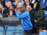 Manager Chris Powell of Huddersfield Town gestures during Sky Bet Championship match between Leeds United and Huddersfield Town at Elland Road Stadium on September 20, 2014