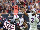 EJ Manuel #3 of the Buffalo Bills passes against the Houston Texans in the first quarter in a NFL game on September 28, 2014