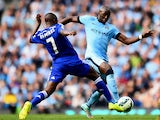 Eliaquim Mangala of Manchester City competes with Ramires of Chelsea during the Barclays Premier League match between Manchester City and Chelsea at the Etihad Stadium on September 21, 2014