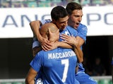 Empoli FC players celebrate a goal scored by Manuel Puciarelli during the Serie A match between AC Chievo Verona and Empoli FC at Stadio Marc'Antonio Bentegodi on September 28, 2014