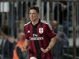 Fernando Torres #9 of AC Milan celebrates after scoring a goal during the Serie A match between Empoli FC and AC Milan at Stadio Carlo Castellani on September 23, 2014