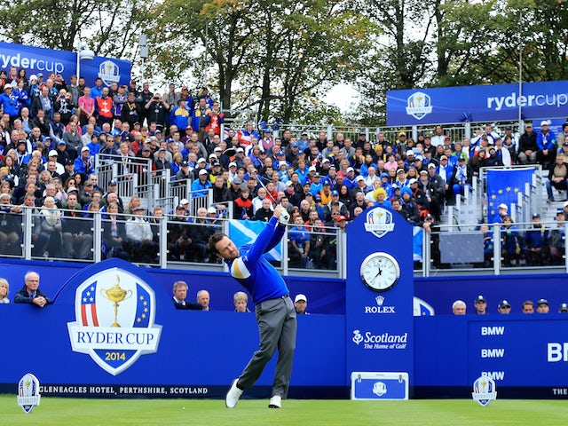 Graeme McDowell of Europe tees off on the 1st hole during the Singles Matches of the 2014 Ryder Cup on the PGA Centenary course at Gleneagles on September 28, 2014