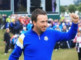 Graeme McDowell of Europe walks to the 1st tee during the Singles Matches of the 2014 Ryder Cup on the PGA Centenary course at Gleneagles on September 28, 2014