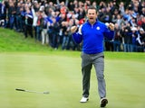 Graeme McDowell of Europe celebrates victory on the 17th hole during the Singles Matches of the 2014 Ryder Cup at Gleneagles on September 28, 2014