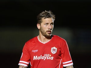 Guido Burgstaller of Cardiff City in action during the Capital One Cup First Round match between Coventry City and Cardiff City at Sixfields Stadium on August 13, 2014