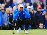 Ian Poulter of Europe lines up a putt on the 13th green during the Morning Fourballs of the 2014 Ryder Cup on the PGA Centenary course at Gleneagles on September 26, 2014