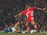 Ian Rush of Liverpool during their Premier League clash with Everton on January 24, 1995