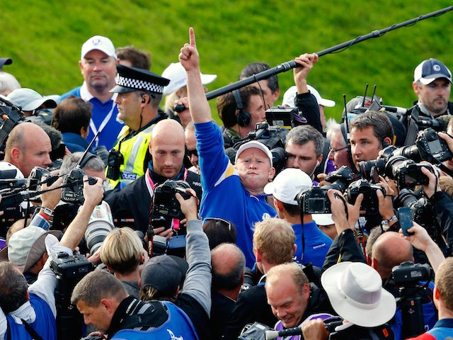 Jamie Donaldson of Europe celebrates on the 15th hole after Europe won the Ryder Cup with Donaldson defeating Keegan Bradley at Gleneagles on September 28, 2014