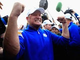 Jamie Donaldson of Europe celebrates on the 15th hole after Europe won the 40th Ryder Cup at Gleneagles on September 28, 2014
