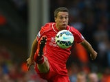 Javier Manquillo of Liverpool during the Barclays Premier League match between Liverpool and Aston Villa at Anfield on September 13, 2014