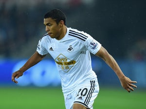 Swansea player Jefferson Montero in action during the Capital One Cup Third Round match between Swansea City and Everton at Liberty Stadium on September 23, 2014