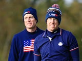 Jim Furyk (L) and Hunter Mahan of the United States watch from the 7th tee during the Morning Fourballs of the 2014 Ryder Cup on the PGA Centenary course at Gleneagles on September 27, 2014