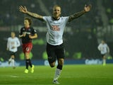 Johnny Russell of Derby celebrates his goal during the Capital One Cup Third Round match between Derby County and Reading at Pride Park Stadium on September 23, 2014