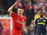Jordan Rossiter of Liverpool celebrates after scoring the opening goal during the Capital One Cup Third Round match against Middlesbrough on September 23, 2014