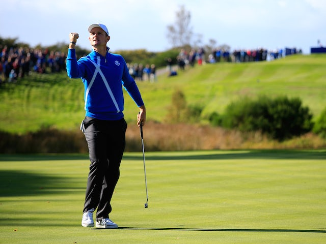 Justin Rose of Europe celebrates a putt on the 6th hole during the Afternoon Foursomes of the 2014 Ryder Cup on the PGA Centenary course at Gleneagles on September 26, 2014