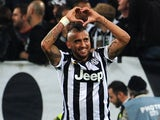 Arturo Vidal of Juventus FC celebrates the goal of 1-0 during the Serie A match between Juventus FC and AC Cesena at Juventus Arena on September 24, 2014