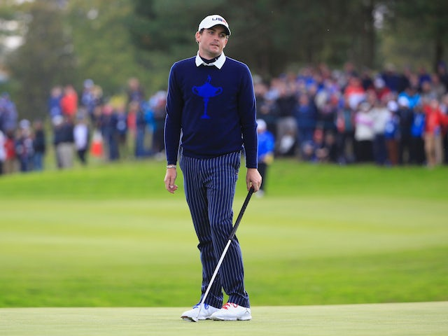 Keegan Bradley of the United States reacts after his putt on the 11th green during the Afternoon Foursomes of the 2014 Ryder Cup on the PGA Centenary course at Gleneagles on September 26, 2014