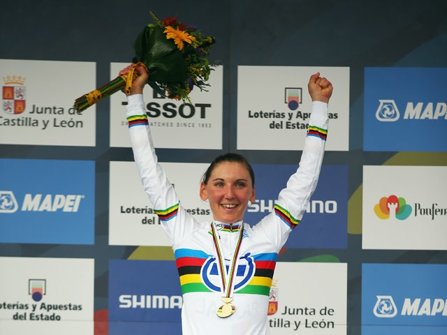 Lisa Brennauer of Germany celebrates winning the Elite Women's Time Trial during day three of the UCI Road World Championships on September 23, 2014