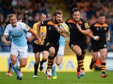 Rob Miller of Wasps on his way to scoring a try during the Aviva Premiership match between Wasps and Newcastle at Adams Park on September 28, 2014