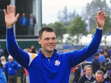 Martin Kaymer of Europe waves to the crowd on the 1st tee during the Singles Matches of the 2014 Ryder Cup on the PGA Centenary course at Gleneagles on September 28, 2014