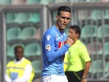 Jose Maria Callejon of SSC Napoli celebrates after scoring the opening goal during the Serie A match between US Sassuolo Calcio and SSC Napoli on September 28, 2014