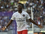 Paris Saint-Germain's Cameroonian forward Jean-Christophe Bahebeck celebrates after scoring a goal during the French L1 football match between Toulouse and Paris-Saint-Germain (PSG) on September 27, 2014