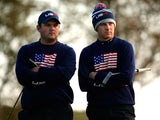 Patrick Reed and Jordan Spieth of the United States look on from the 4th green during the Morning Fourballs of the 2014 Ryder Cup on the PGA Centenary course at Gleneagles on September 27, 2014