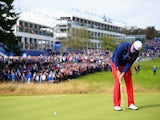 Phil Mickelson of the United States putts on the 1st hole during the Singles Matches of the 2014 Ryder Cup on the PGA Centenary course at Gleneagles on September 28, 2014