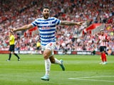 Charlie Austin of QPR celebrates scoring their first goal during the Barclays Premier League match between Southampton and Queens Park Rangers at St Mary's Stadium on September 27, 2014