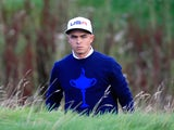 Rickie Fowler of the United States looks on from the rough during the Morning Fourballs of the 2014 Ryder Cup on the PGA Centenary course at Gleneagles on September 26, 2014