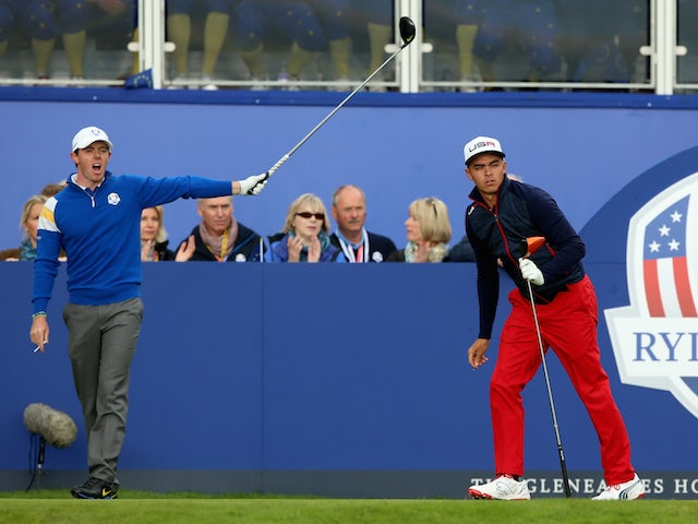 Rory McIlroy of Europe and Rickie Fowler of USA on the tee on day three of the 40th Ryder Cup at Gleneagles on September 28, 2014