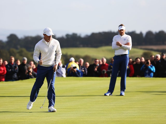 Rory McIlroy of Europe celebrates his birdie on the 8th green during the Morning Fourballs of the 2014 Ryder Cup on the PGA Centenary course at Gleneagles on September 27, 2014