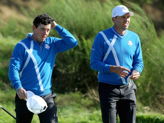 Rory McIlroy of Europe in discussion with Sergio Garcia of Europe on the 3rd hole during the Afternoon Foursomes of the 2014 Ryder Cup on the PGA Centenary course at Gleneagles on September 26, 2014