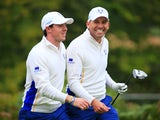 Rory McIlroy and Sergio Garcia of Europe share a joke at the 5th tee during the Afternoon Foursomes of the 2014 Ryder Cup on the PGA Centenary course at Gleneagles on September 27, 2014
