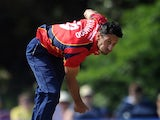 Sajid Mahmood of Essex in action during the Yorkshire Bank 40 match between Derbyshire and Essex at Leek Cricket Club on June 9, 2013