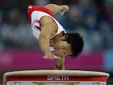 Shotaro Shirai of Japan competes in the vault of the men's qualification and team final during the 2014 Asian Games at Namdong Gymnasium on September 21, 2014