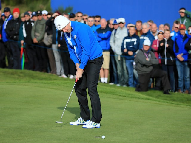 Stephen Gallacher of Europe reacts to a missed putt on the 8th hole during the Morning Fourballs of the 2014 Ryder Cup on the PGA Centenary course at Gleneagles on September 26, 2014