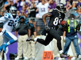 Wide receiver Steve Smith #89 of the Baltimore Ravens scores a touchdown in the second quarter of a game against the Carolina Panthers on September 28, 2014