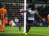 Brown Ideye of West Bromwich Albion celebrates his goal during the Capital One Cup Third Round match between West Bromwich Albion and Hull City at The Hawthorns on September 24, 2014