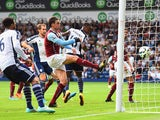 Saido Berahino of West Brom scores his team's second goal during the Barclays Premier League match between West Bromwich Albion and Burnley at The Hawthorns on September 28, 2014