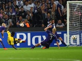 Dortmund's Adrian Ramos scores his second goal during the UEFA Champions League football match RSC Anderlecht vs Borussia Dortmund in Brussels, on October 1, 2014
