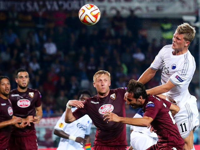 Copenhagen forward Andreas Cornelius tries to score during the Europa League Group B football match Torino vs Kobenhavn at the Olympic Stadium in Turin on October 2, 2014