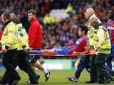 Crystal Palace's English defender Scott Dann is taken off injured on a stretcher during the English Premier League football match between Hull City and Crystal Palace at the KC Stadium in Kingston upon Hull on October 4, 2014