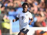 Eniola Aluko of England in action during the Women's World Cup Group Six Qulifier between England and Ukraine at Greenhous Meadow on May 8, 2014