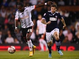 Hugo Rodallega of Fulham opens the scoring during the Sky Bet Championship match between Fulham and Bolton Wanderers at Craven Cottage on October 1, 2014