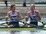 Great Britain's Katherine Grainger and Anna Watkins laugh after winning the women's double sculls final A of the rowing event during the London 2012 Olympic Games, at Eton Dorney Rowing Centre in Eton, west of London, on August 3, 2012